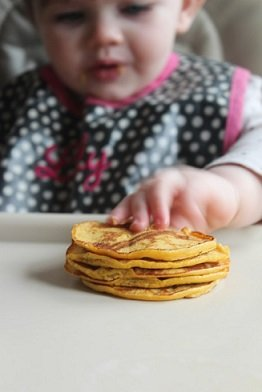pumpkin baby led weaning pancakes recipe - great finger food or first food when introducing solids
