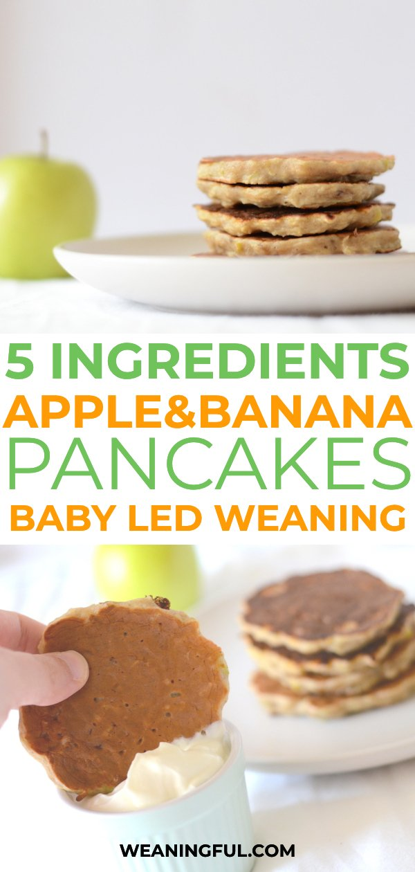 This baby led weaning recipe for baby pancakes is sweetened only with banana and apples and makes great finger food and first food, even for babies with no teeth #blw #babyledweaning #pancakes