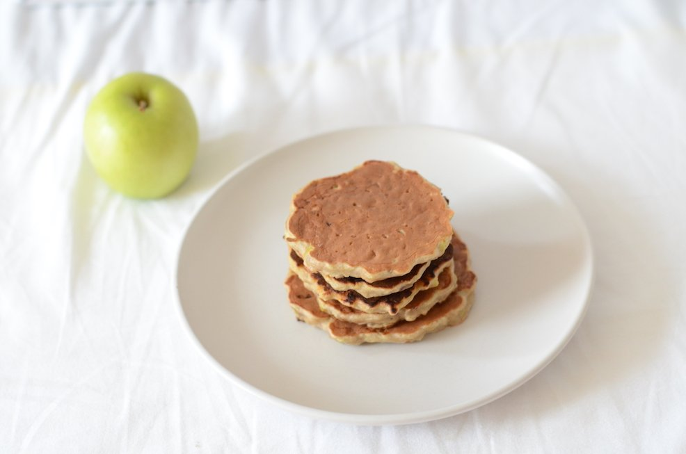 A baby led weaning recipe of banana and apple pancakes no sugar added