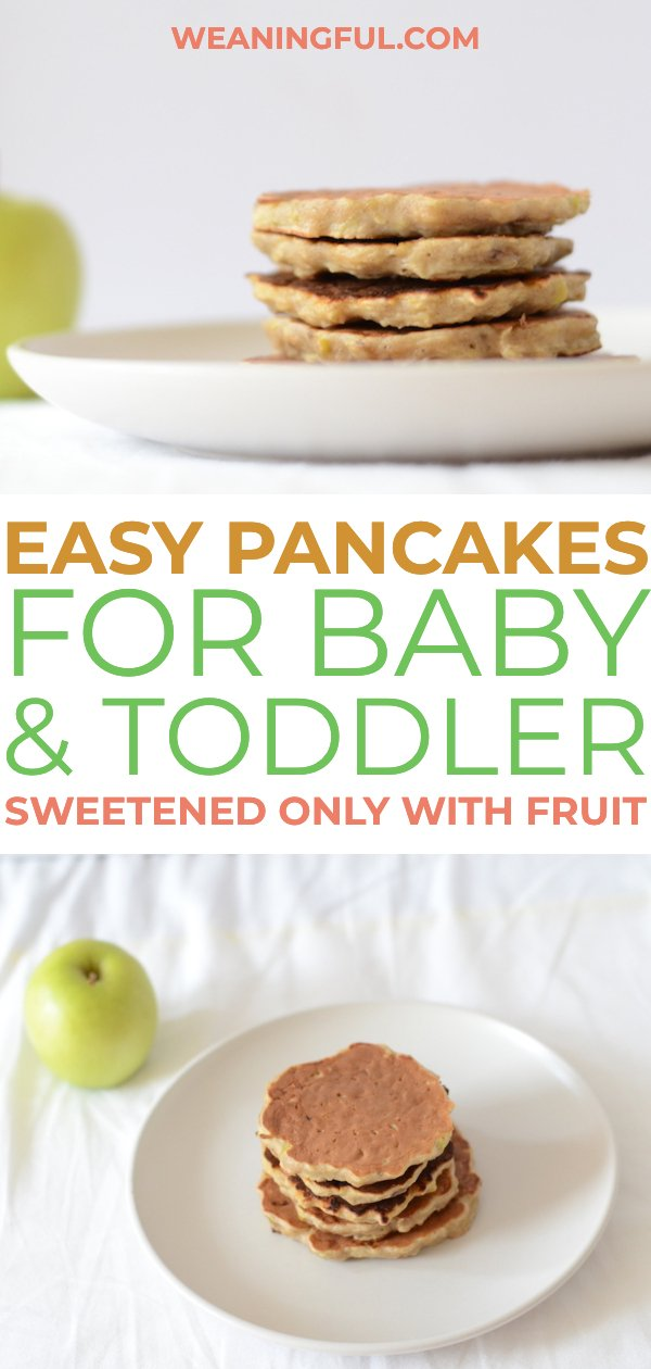 This is an easy recipe for apple and banana pancakes for babies and toddlers who are doing baby led weaning and need a nutritious and quick healthy breakfast alternative to baby cereal. With only 5 ingredients, these are deliciously sweet! #blw #babyledweaning #pancakes