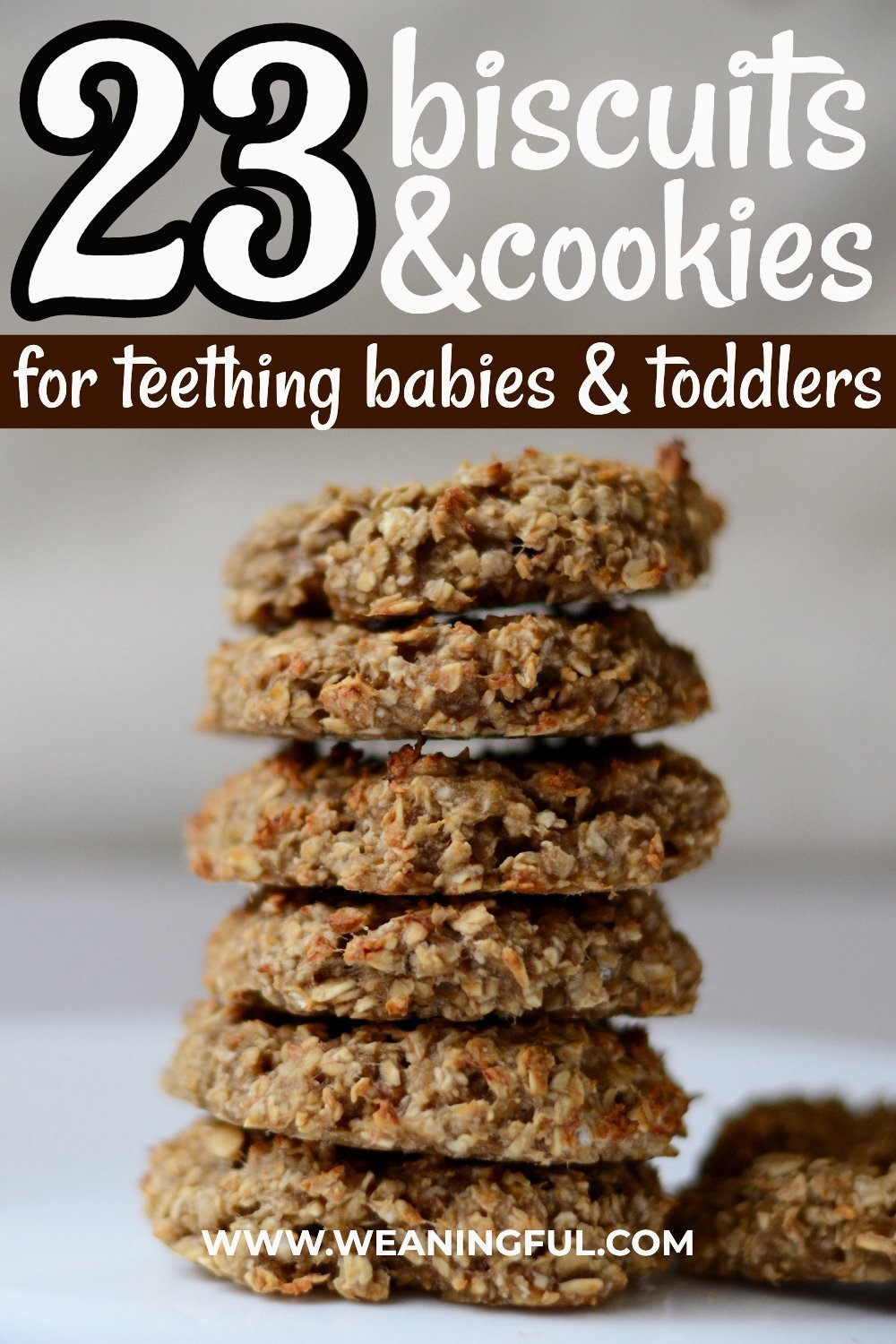These easy homemade teething biscuits might be hard to chew, but they're a healthier option to the store bought ones and are made with common ingredients like banana, oats or other cereals and coconut oil. Your baby's or toddler's sore gums will thank you.