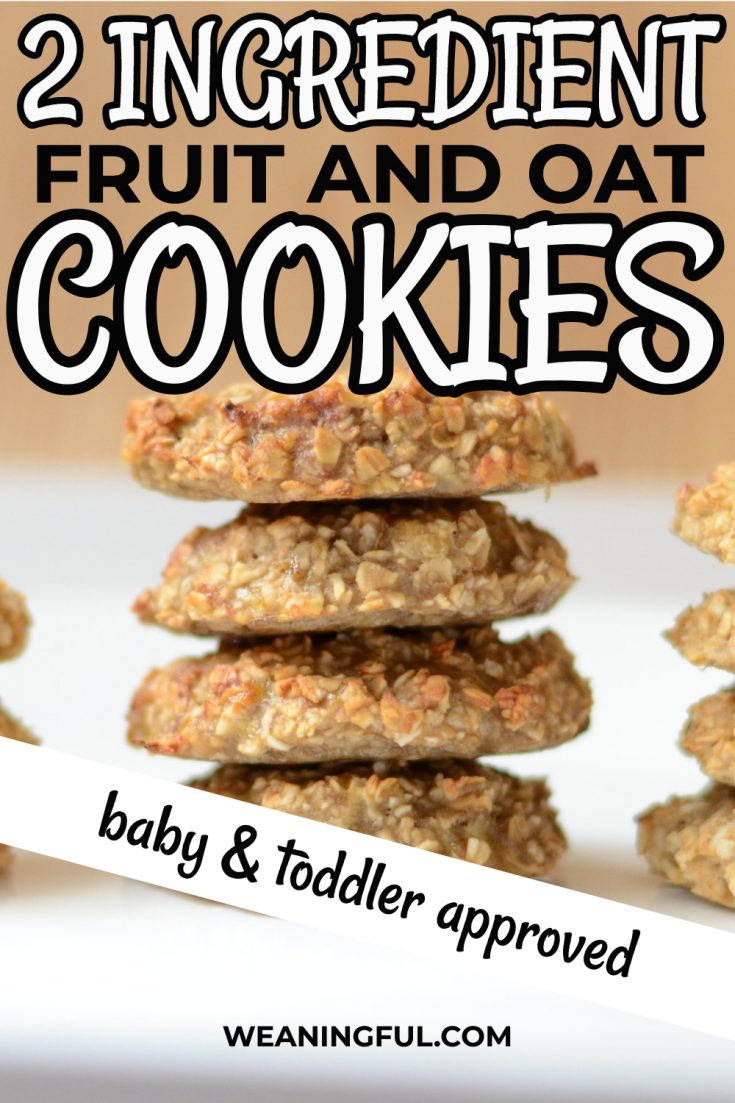 These 2 ingredient cookies can be made with banana, apple, pear and other fruit. They are great finger food for baby led weaning and a great snack idea for babies and toddlers