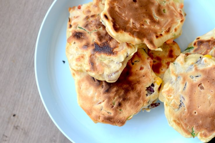 A batch of vegetable fritters, great finger food for kids