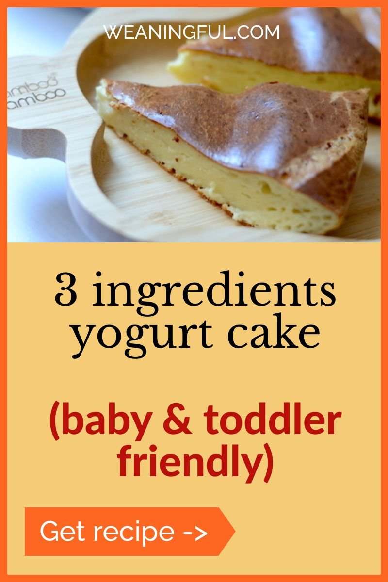 This 3 ingredients yogurt cake is easy, quick and nutritious for babies, toddlers and beyond. Makes great first food when introducing solids or a quick breakfast idea for lazy mornings.