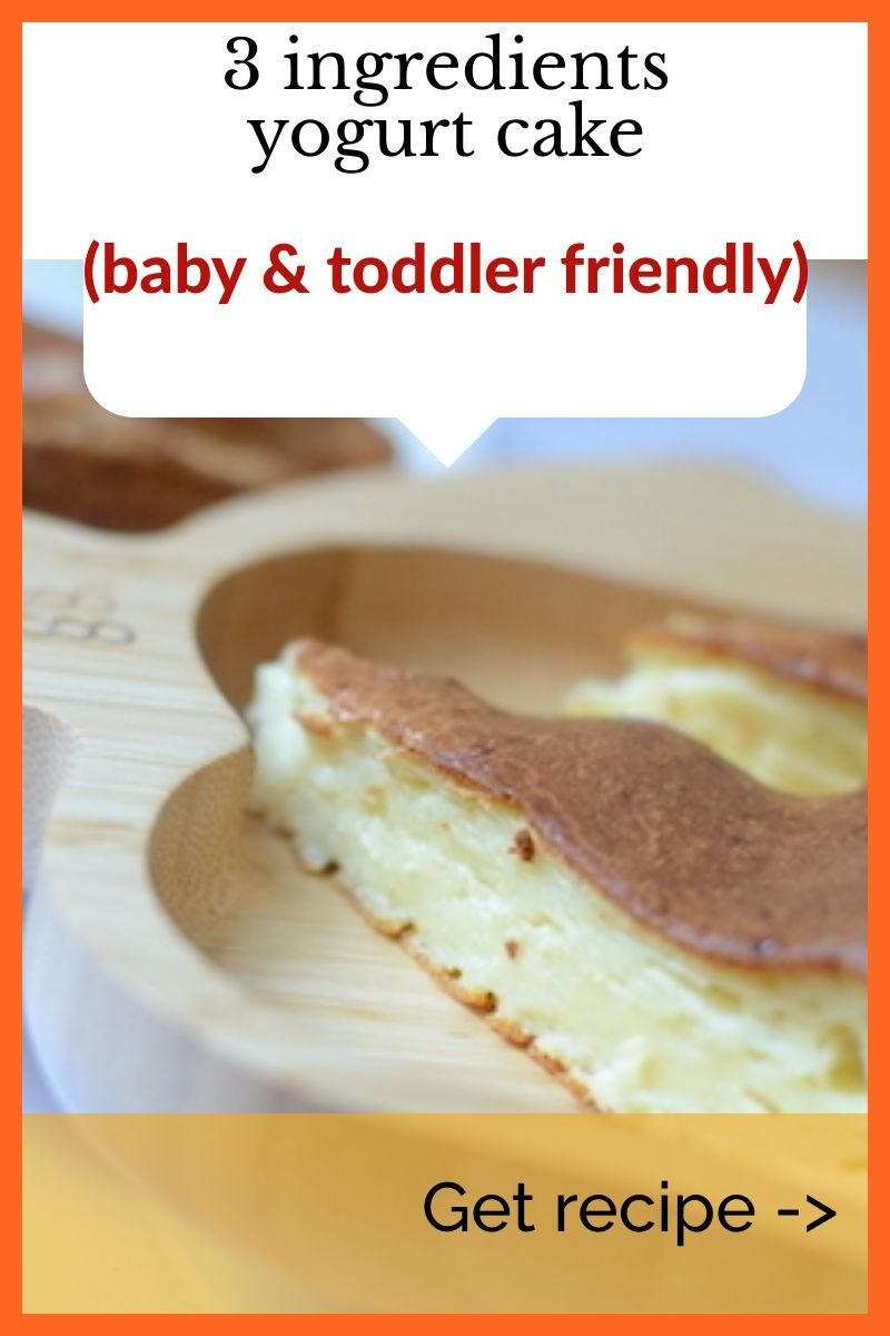 This kid friendly yogurt cake makes great finger food for babies just starting solids, picky toddlers or older kids who need something easy and quick in their lunchboxes.